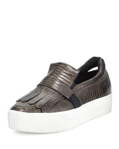 King Embossed Leather Kiltie Sneaker, Army/Bronze/Black
