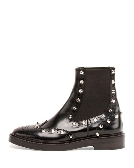 Studded Chelsea Brogue Boot, Black (Noir)