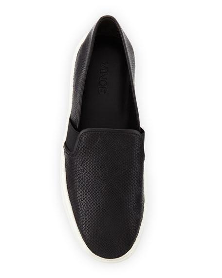 Blair Snake-Embossed Skate Sneaker, Black