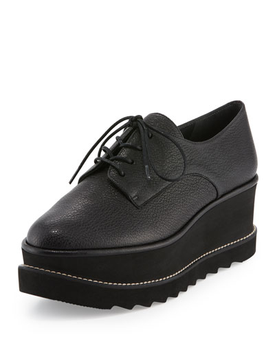 Kent Leather Platform Oxford, Black