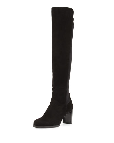 Lowjack Suede Tall Block-Heel Boot, Black