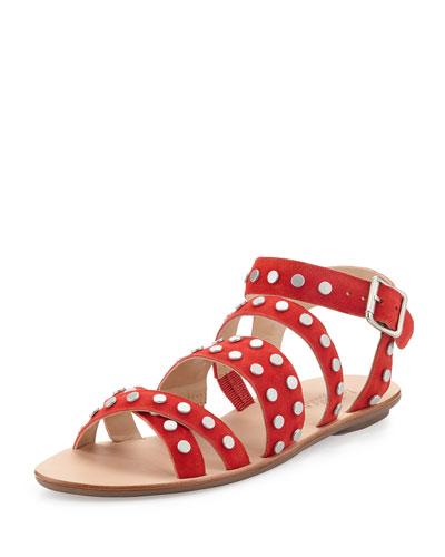 Karin Studded Suede Flat Sandal, Poppy