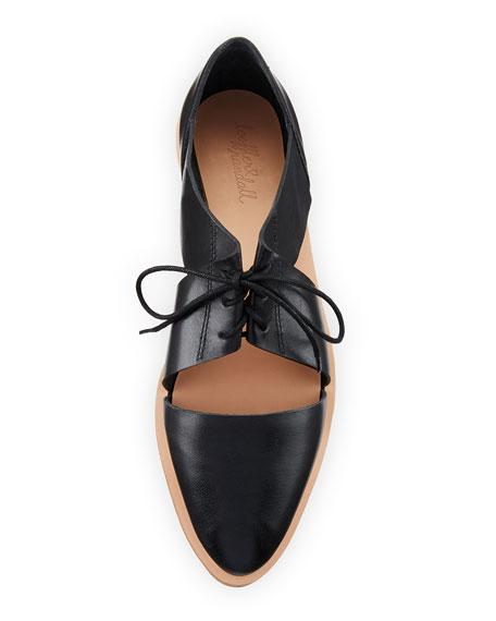 Willa Cutout Leather Oxford, Black