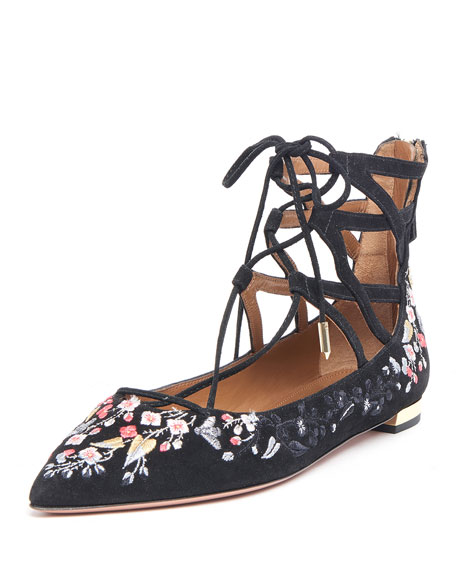 Belgravia Embroidered Suede Lace-Up Flat, Black