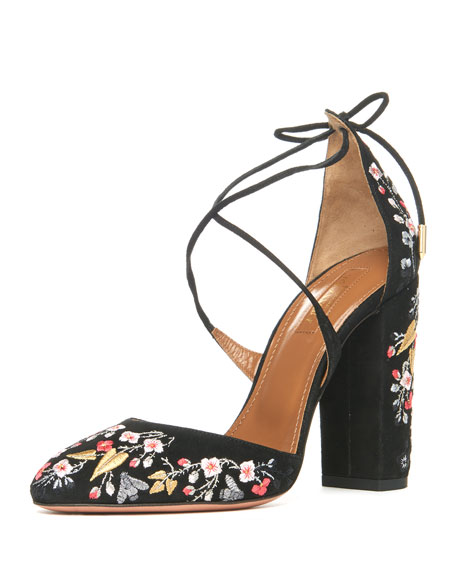Aquazzura Karlie Embroidered Suede Block-Heel Pump, Black