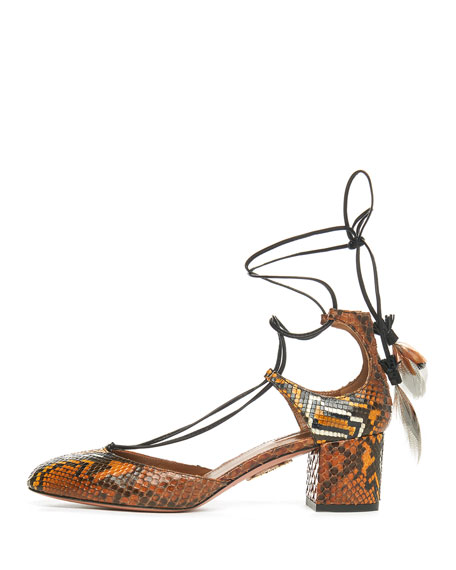 Boheme Snakeskin Feather-Tie Pump, Amber