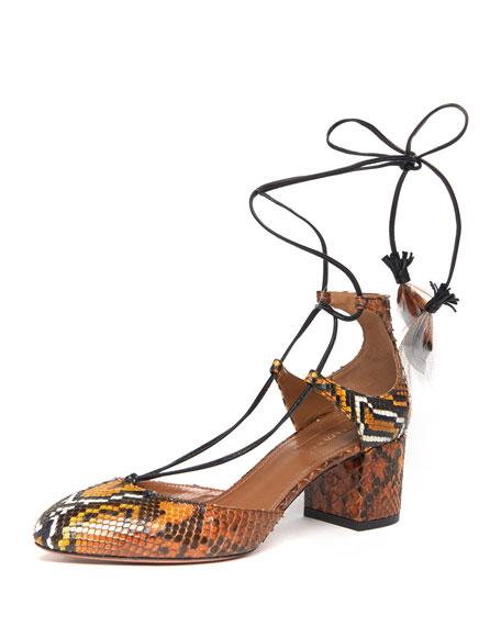Boheme Snakeskin Feather-Tie Pump, Amber