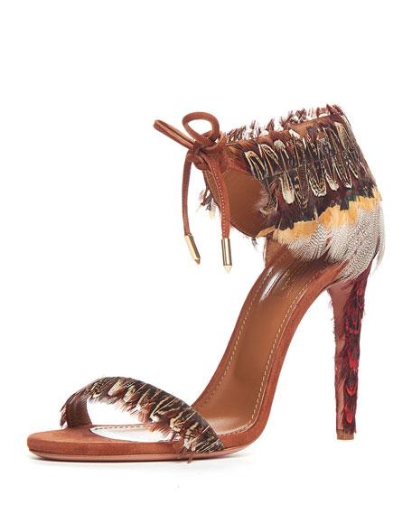 Aquazzura Rio Feather Ankle-Tie Sandal, Luggage