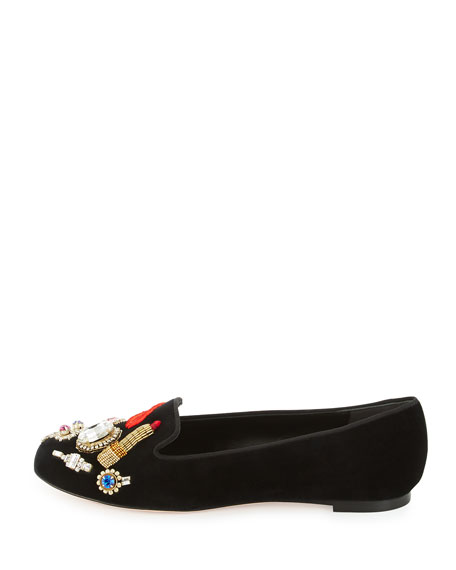 Obsession-Charm Velvet Smoking Slipper, Black