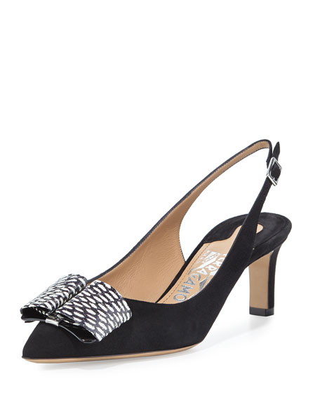 Suede Slingback Bow Pump, Black/White
