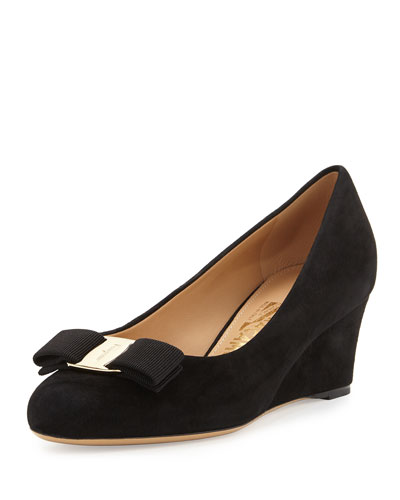 Mirabel Suede Wedge Pump, Black (Nero)