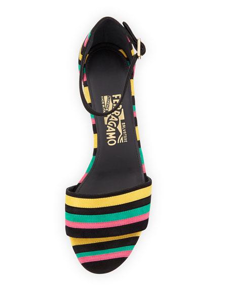 807f60dc46ee Salvatore Ferragamo Striped Block-Heel Sandal