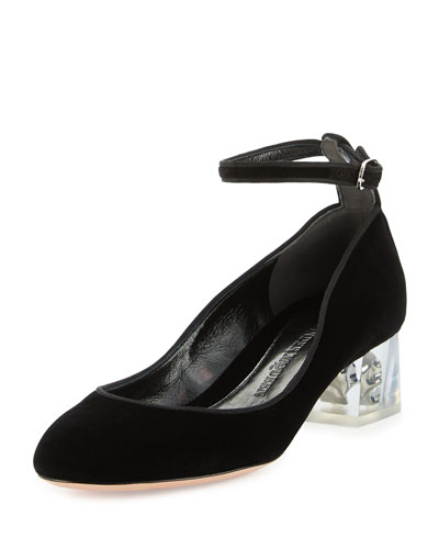 Velvet Ankle-Wrap Skull Pump, Black