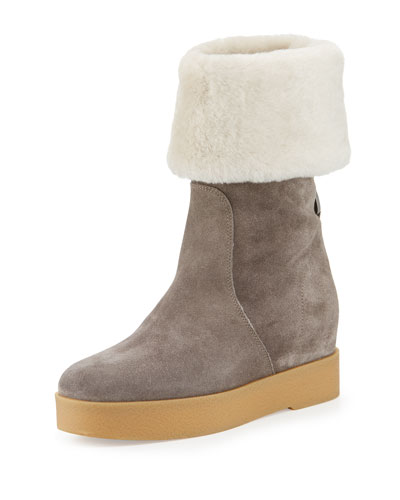 Falcon Shearling Fur-Lined Boot, Gray