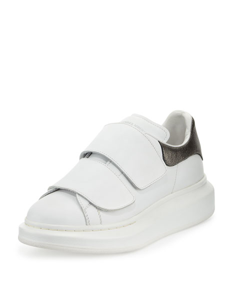 Leather Low-Top Lace-Up Sneaker, White/Black Pearl