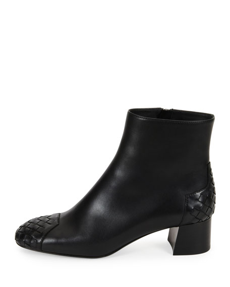 Woven Cap-Toe Leather Ankle Boot, Black (Nero)