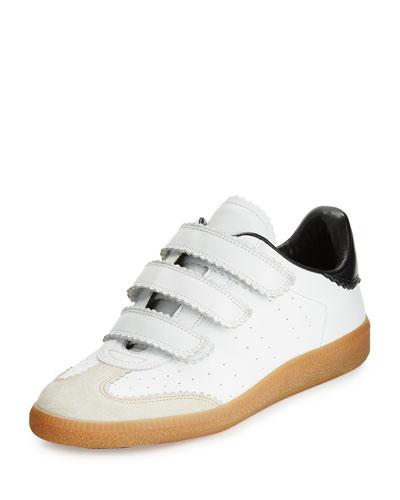 Beth Pinked-Trim Grip-Strap Sneaker, White