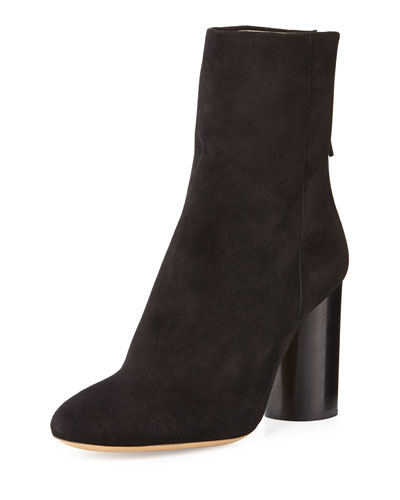 Garett Suede Block-Heel Boot, Black