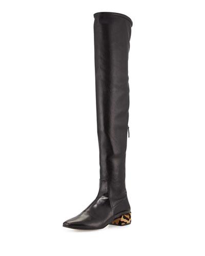 Over-the-Knee Leather Boot w/Fur Heel, Black (Nero)