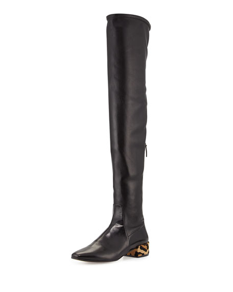 Francesco Russo Over-the-Knee Leather Boot w/Fur Heel, Black