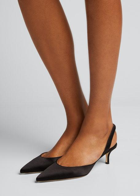 Carolyne Satin Low-Heel Slingback Pumps, Black