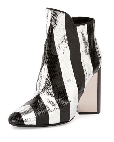 Belle Striped Snakeskin Ankle Boot, Black/Silver
