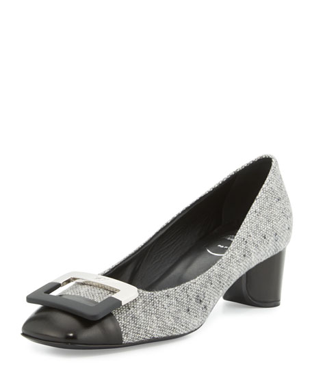 U Look Wool Tweed Buckle Pump, Black/Gray