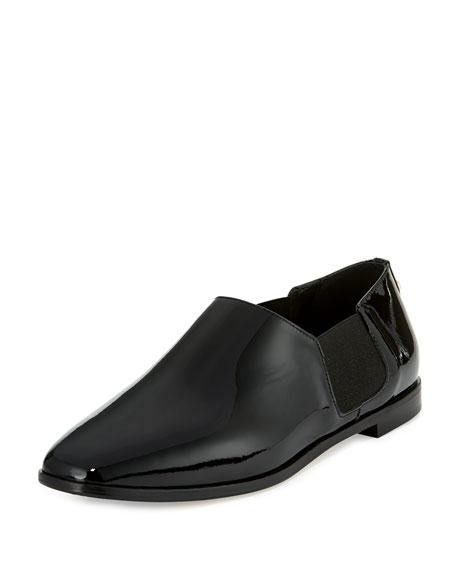 Glint Patent Slip-On Flat Boot, Black