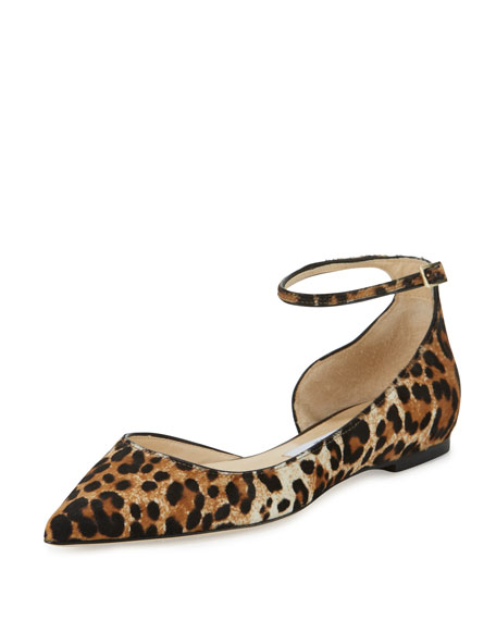 1948ac4e3743 ... low cost jimmy choo lucy leopard print calf hair ankle strap flat  natural fb0e6 99987