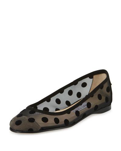 Garner Polka-Dot Mesh Ballerina Flat, Black
