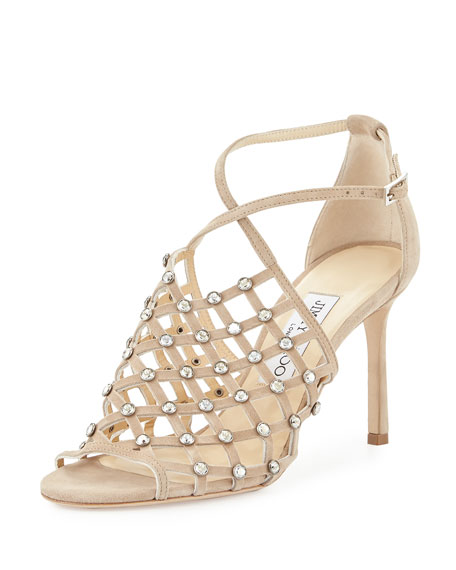 Jimmy Choo Donnie Crystal Caged Sandal, Nude