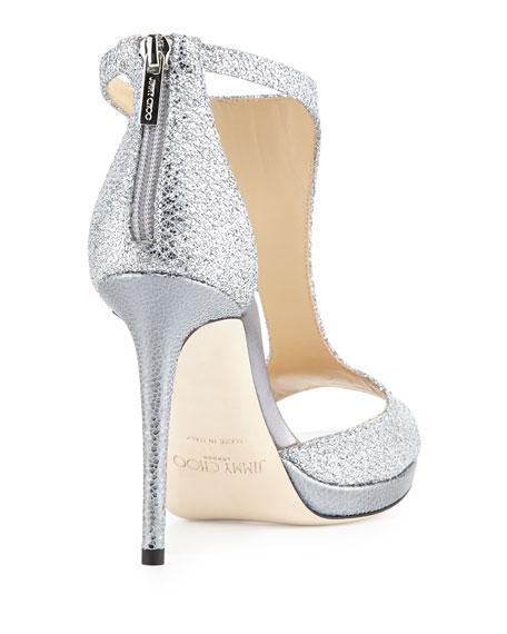 9a126d4570 Jimmy Choo Lana 100mm Glitter Fabric T-Strap Sandal