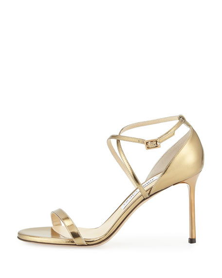 Hesper Metallic Leather Sandal, Light Honey