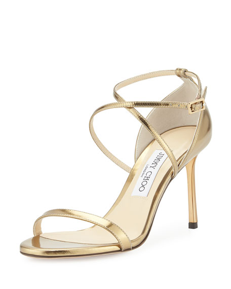 Jimmy Choo Hesper Metallic Leather Sandal, Light Honey