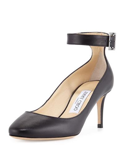 Helena Leather Ankle-Strap Pump, Black