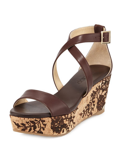Portia Lace-Embossed Wedge Sandal, Dark Brown/Natural