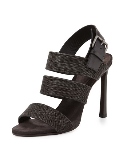 Triple-Strap Monili 100mm Sandal, Graphite