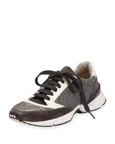 Diagonal-Monili Contour Sneaker, Graphite/Vanilla