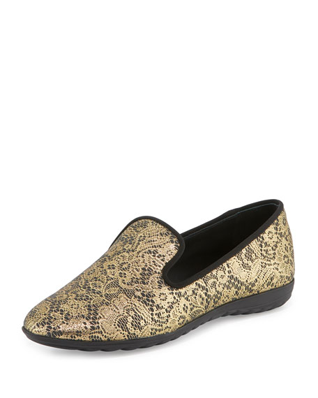 Giuseppe Zanotti Lace-Print Leather Smoking Slipper, Gold