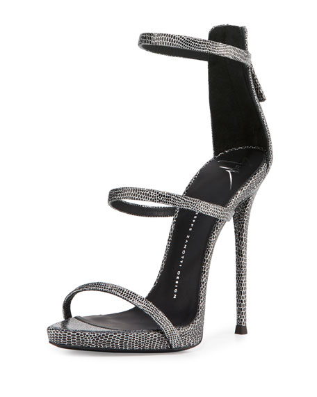 9fd5305c60c Embossed Leather Three-Strap Sandal Black Silver