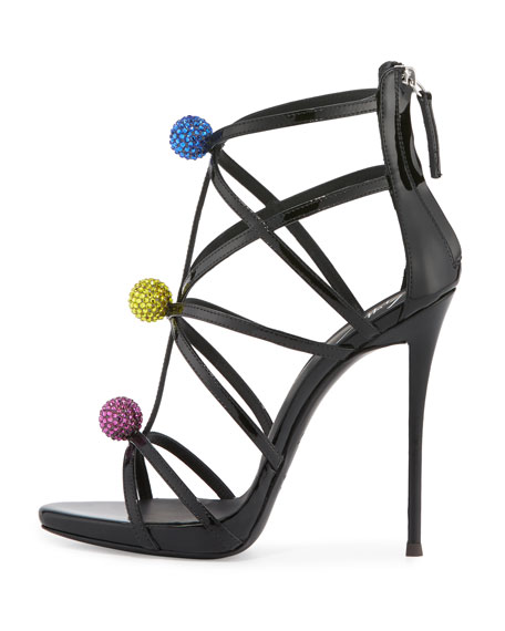 Strappy Crystal Medallion Sandal, Black