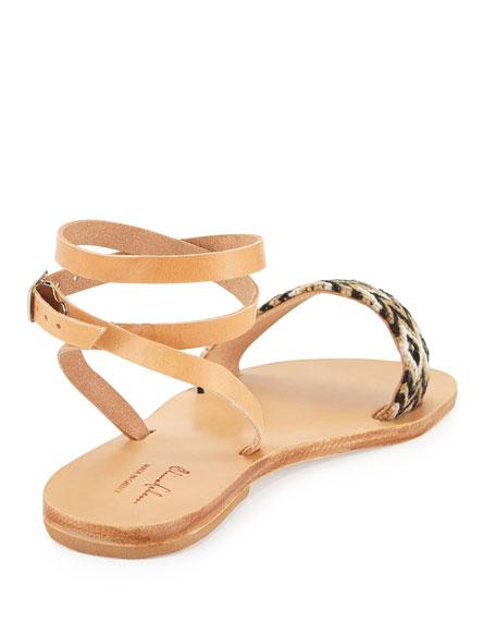 Aliki Woven Ankle-Wrap Flat Sandal, Black/Taupe