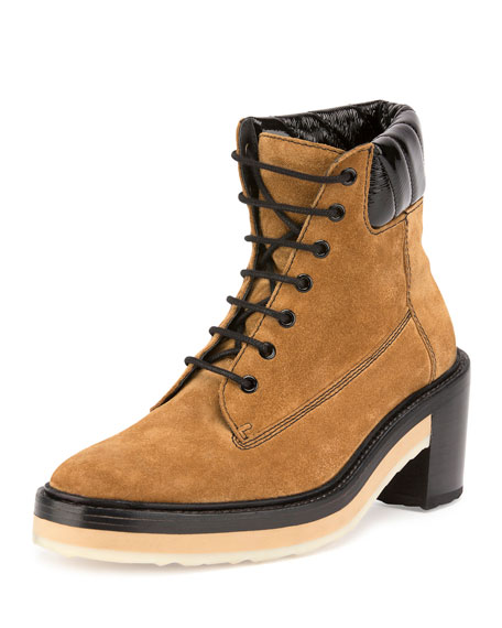 Working Girl Suede Lace-Up Boot, Camel