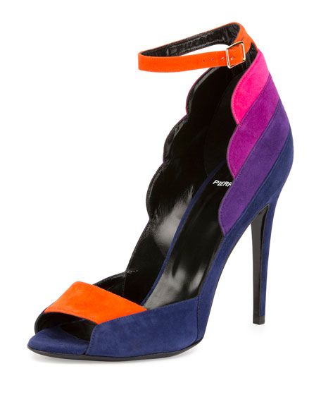 Pierre Hardy Roxy Colorblock Suede Ankle-Strap Pump