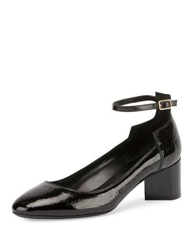 Belle Patent Ankle-Strap Pump, Black