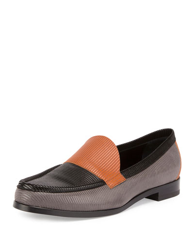 Hardy Textured Colorblock Leather Loafer, Gray