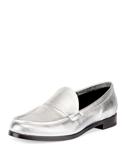 Hardy Metallic Leather Loafer, Silver