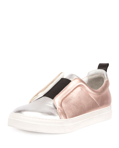 Slider Metallic Colorblock Slip-On Sneaker, Silver