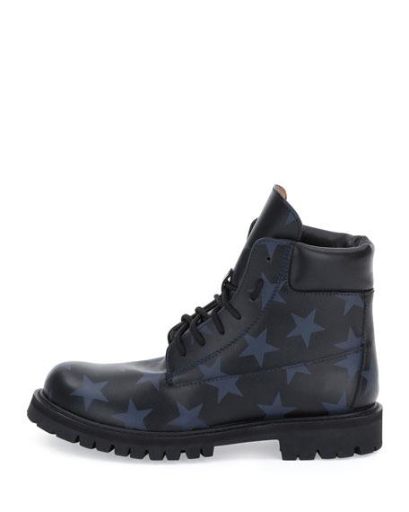 Valentino Hologram Stars Leather Combat Boot, Black/Marine