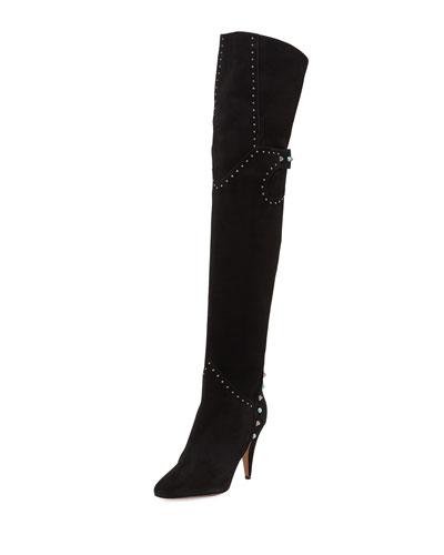 Rockstud Rolling Over-the-Knee Boot, Black (Nero)